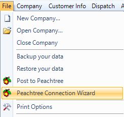 Peachtree Connection Wizard: Connect – ESC