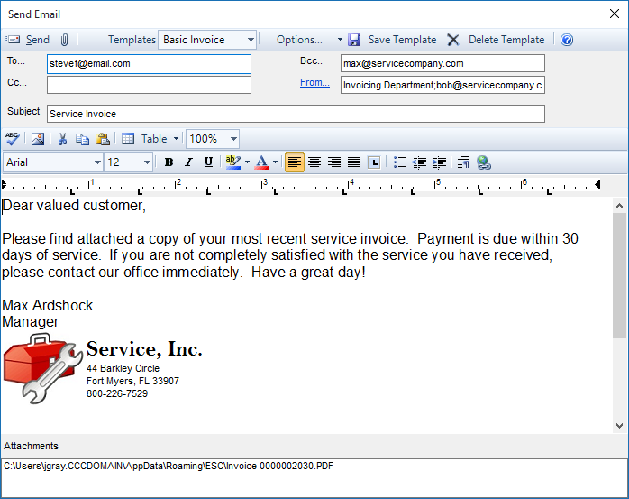 Emailing invoices and quotes desco support for Customer support email template