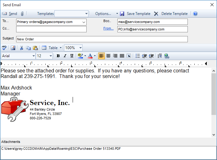 How do i email a purchase order to my vendor desco support for Purchase order email template