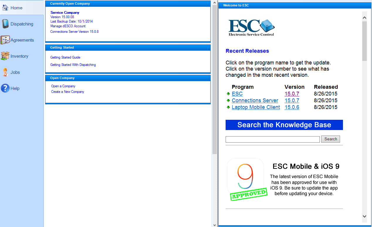 You see the Dashboard every single time you log into ESC. The center panel  consists of several individual containers that display company statistics.