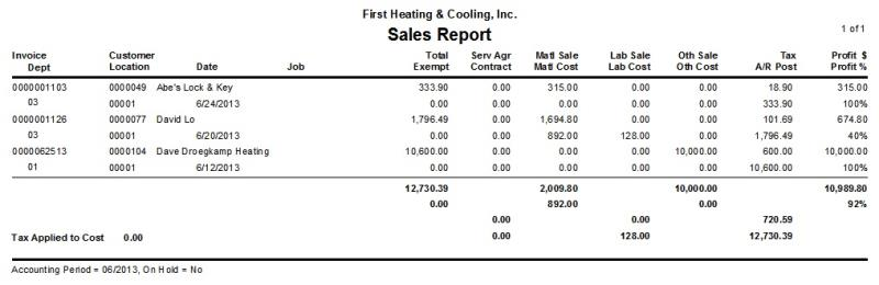 sales report desco support