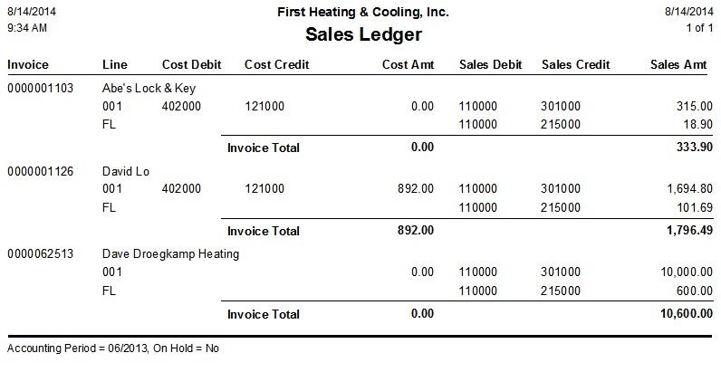 sales ledger report desco support