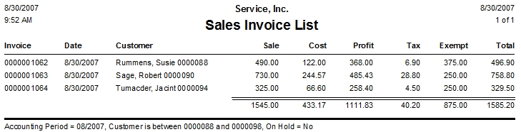Sales Invoice List Report DESCO Support - Quickbooks invoice list report